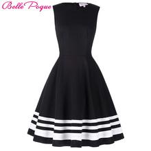 Buy Belle Poque 2017 Retro Vintage Sleeveless Black White Print 50s 60s Vintage Dresses Audrey Hepburn Plus Size Womens Clothing for $16.45 in AliExpress store