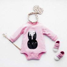 pink little rabbit 100 Cotton long Sleeve font b Clothing b font Similar Jumpsuit Printed Baby