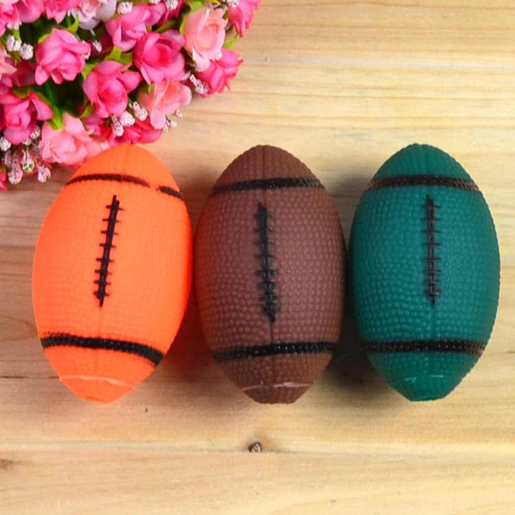 2014 New Promotion Good Quality Free shipping mixed colors rugby/ america 10cm pet dog sounding funny ball toy 6pcs/lot pet(China (Mainland))