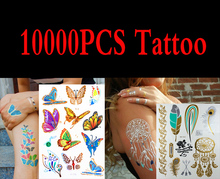 10000pcs gold tattoo sex products necklace bracelets  temporary tattoo women flash metalic fake gold silver tattoos(China (Mainland))