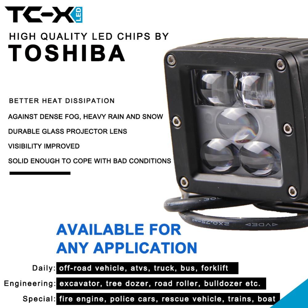 TC-X Pack of 2 25W LED Fog Light 5D Engineering Led Driving Lights Ultra Flood Fog Lamps for Offroad Trailer Truck 24V ATV light