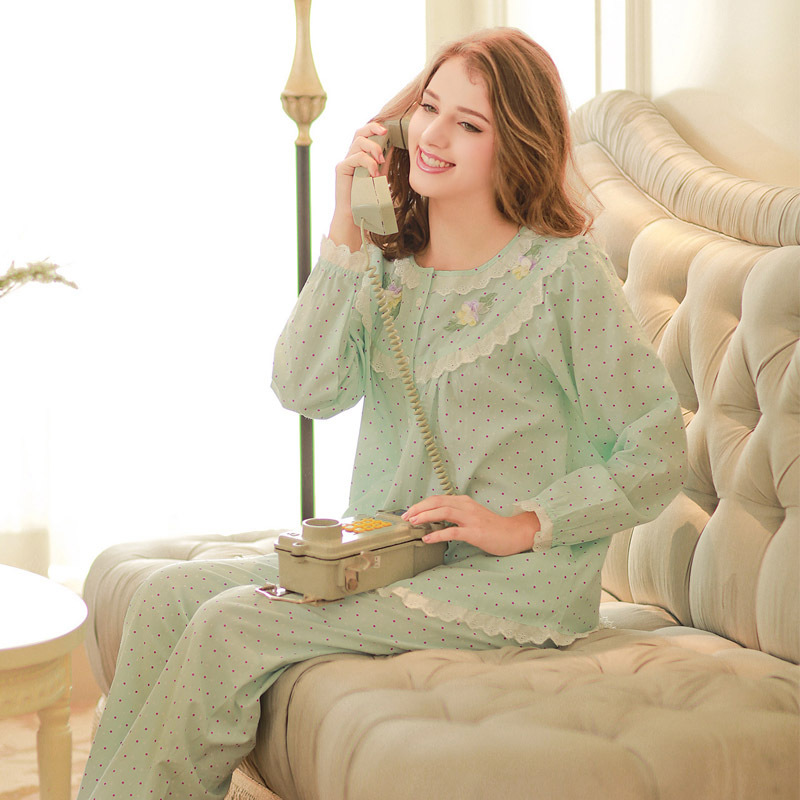 2016 Real Sweet Girls Pastoral Sleepwear 100% Cotton Pajamas Long Sleeve Round Neck Pijama Leisure Nightgowns Yc15066(China (Mainland))