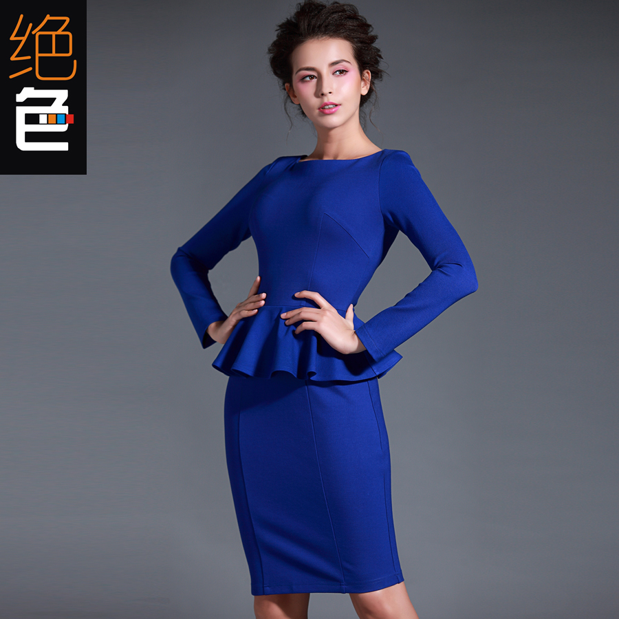 2014 autumn winter aliexpress blue red black long sleeve peplum ladies office dress ruffles sheath pencil knitted cotton - shirley chan's store