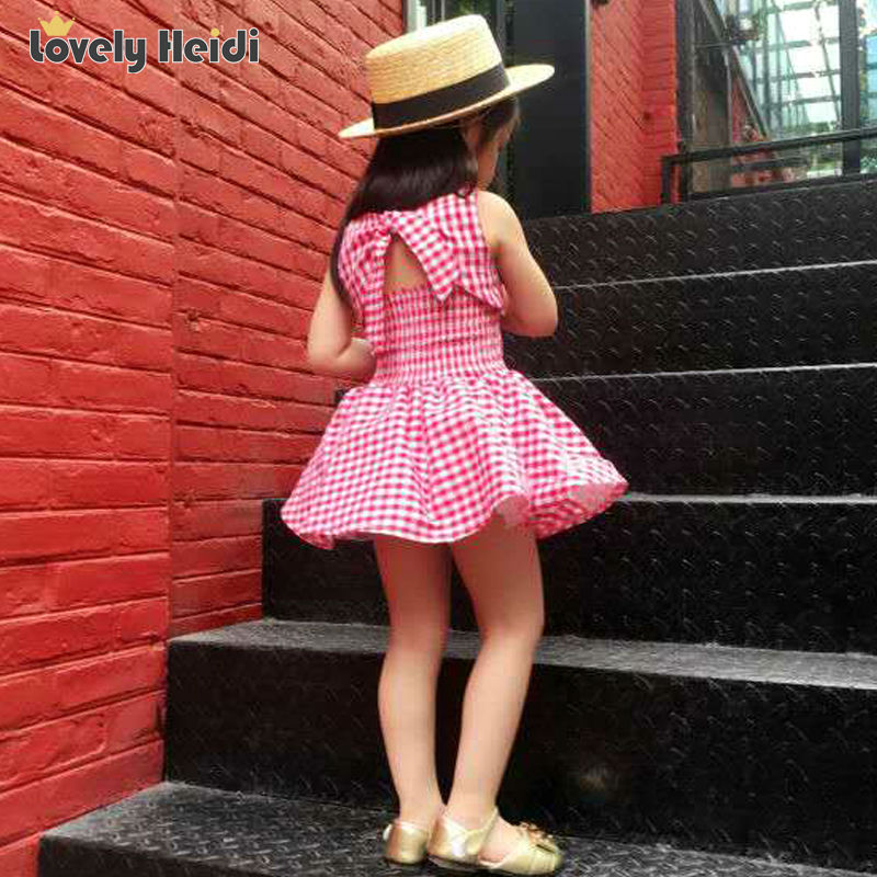 2016 Girl summer dress cotton kids clothing plaid and bow tutu dress for girls children girl princess dresses summer fashion(China (Mainland))