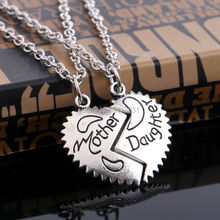 2PC/Set Vintage Retro Silver Necklace Letter Mother & Daughter Broken Heart Part 2 Pendant Necklaces Jewelry Women Accessories(China (Mainland))