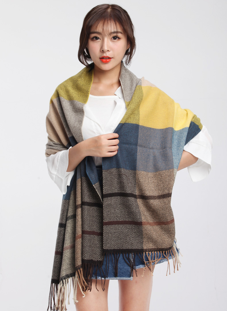 Classic checked scarf multi-color plaid woven pashmina ladies winter shawl 2016(China (Mainland))