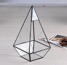 Бонсай бесплатная доставка современный стеклянная пирамида настольный сочные завод террариум окна плантатора цветочный горшок