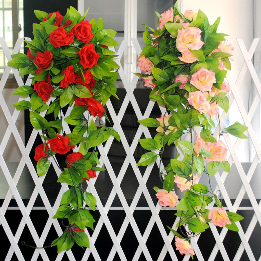2 5m artificial silk rose fake flower ivy vine hanging for Artificial leaves for decoration