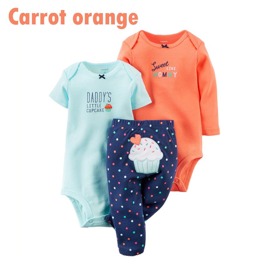 Carters Baby Clothes 3 pcs Set Infants Long sleeve & Short sleeve Romper+Pant Baby Girl Baby Boy Bodysuit Newborn Clothing Suit