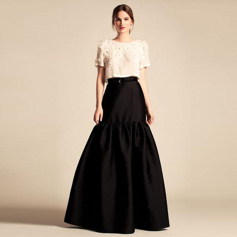 popular black satin evening skirt buy cheap