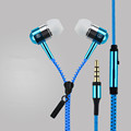 Colorful Metal Zipper Style Earphone Headset 3 5mm Microphone Stereo Bass For Mobile Phone iPad MP3