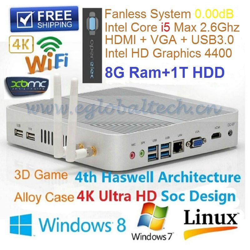 Cheapest Fanless i5 Mini PC Thin Client with 8GB RAM 1TB HDD Dual WIFI Haswell Intel HD4400 Graphic 4K HD 3D Support(China (Mainland))