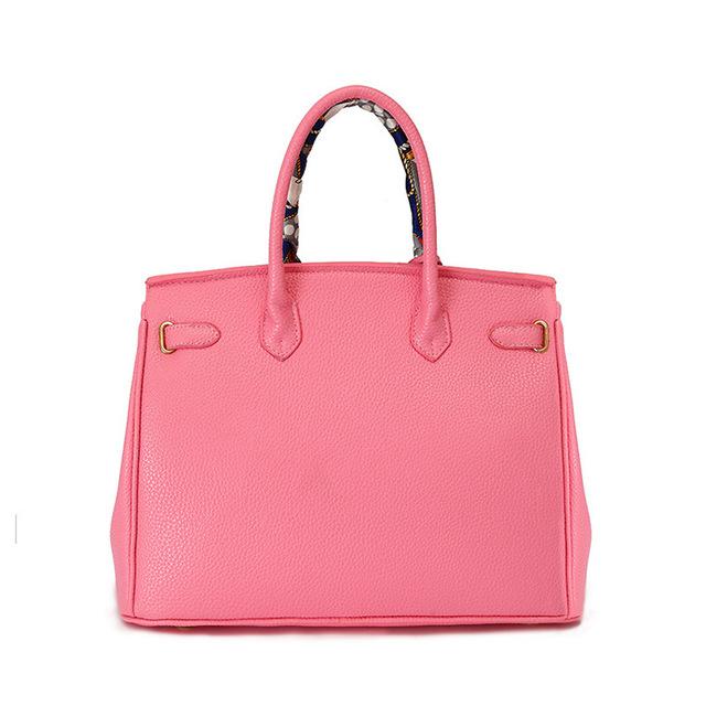 PU leather Handbag With Gold Lock Scarf 30cm 35cm