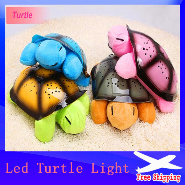 4 Colors Free shipping Musical Turtle Night Light Stars Constellation Lamp Without Box,1pc/lot(China (Mainland))