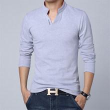 T Shirt Hommes À Manches Longues Nouvelle Mode 2017 Impression de Printemps Hommes marque Vêtements Casual Slim Col V En Coton T shirt Homme T-shirts M-5XL(China)