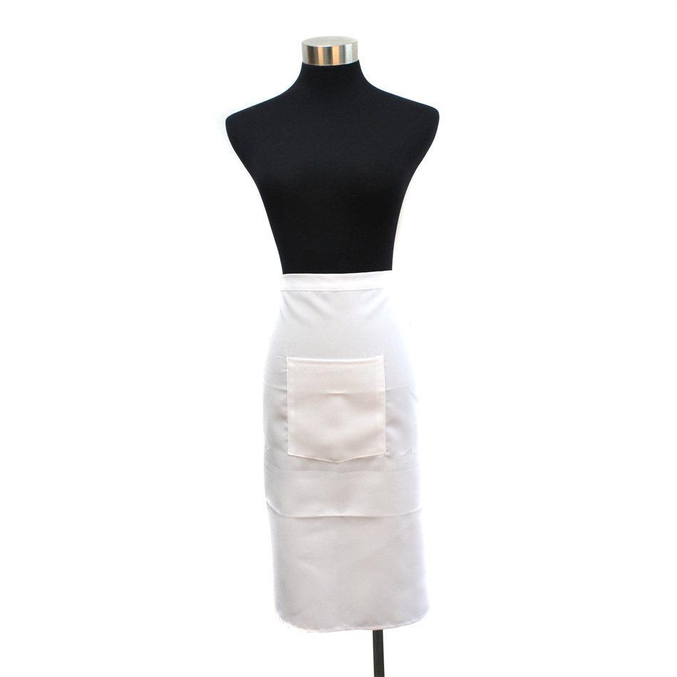 Plain white kitchen apron - Plain White Chefs Butchers Kitchen Bar Restaurant Waist Apron With Pocket