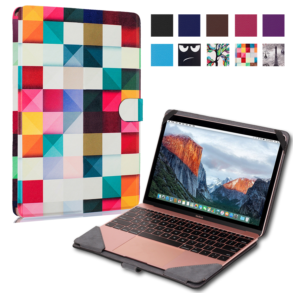 Ultra Thin Slim Stand Print Custer PU Leather Case Protective Skins Shell Bag Cover For Apple Macbook 12 12 inch Laptop Notebook(China (Mainland))