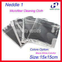 220gsm 100pcs Neddle1 150x150mm Colorful White Black glasses cleaning cloth lens microfiber cleaning cloth individual packing(China (Mainland))