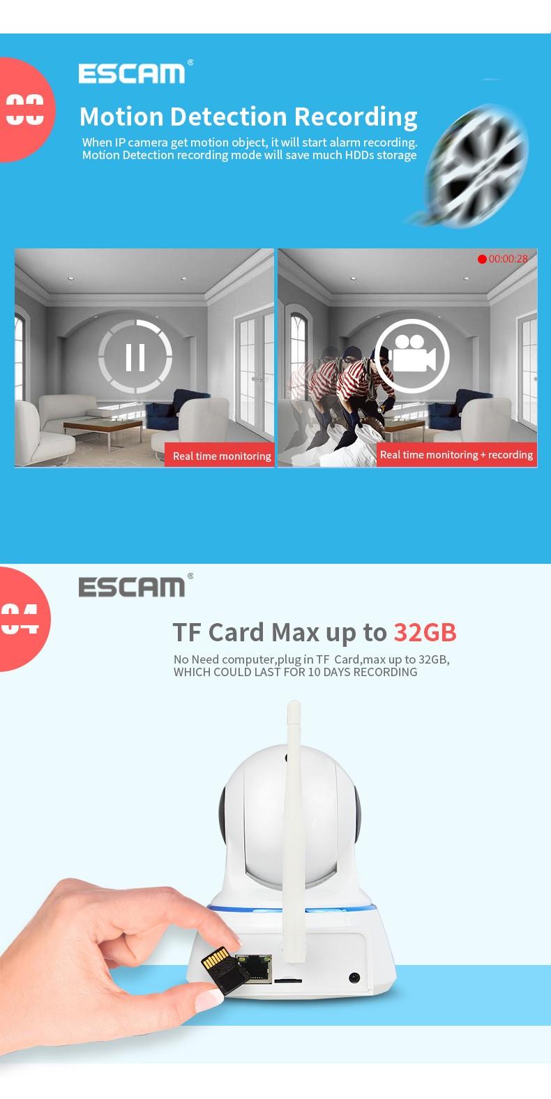 Купить 3 шт. ESCAM Крытый Сети WI-FI Ip-камера Ик P2P Ик-cut смартфон Onvif H.264 Pan/Tilt PT Беспроводная Камера МАКС 32 Г TF карты