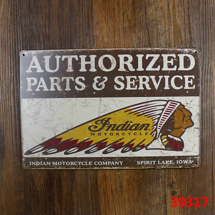 AUTHIRIZED PARTS & SERVICE INDIAN MOTORCYCLE VINTAGE Tin Sign Bar pub home Wall Decor Retro Metal Art Poster(China (Mainland))