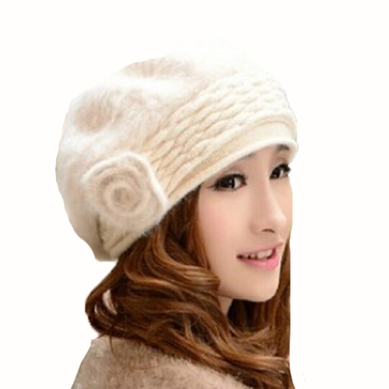 Fashion 2015 autumn and winter hats new Korean rabbit fur hat Knitted women beret casual Flowers hats 10.7-16(China (Mainland))