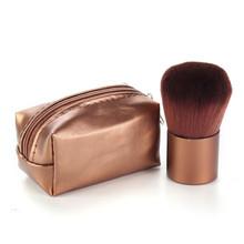 1Pcs Makeup Brush Brown Mini PU Leather Bag Case Aluminum Handle Fiber Bristles Brown Face Powder