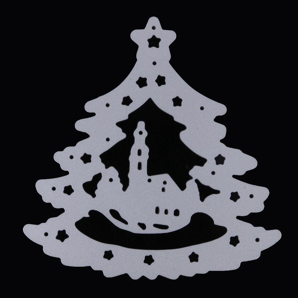 Christmas Tree Background Metal Dies Cutting DIY Scrapbooks Embossing Folder Suit for Sizzix Fustella Big Shot Cutting Machine