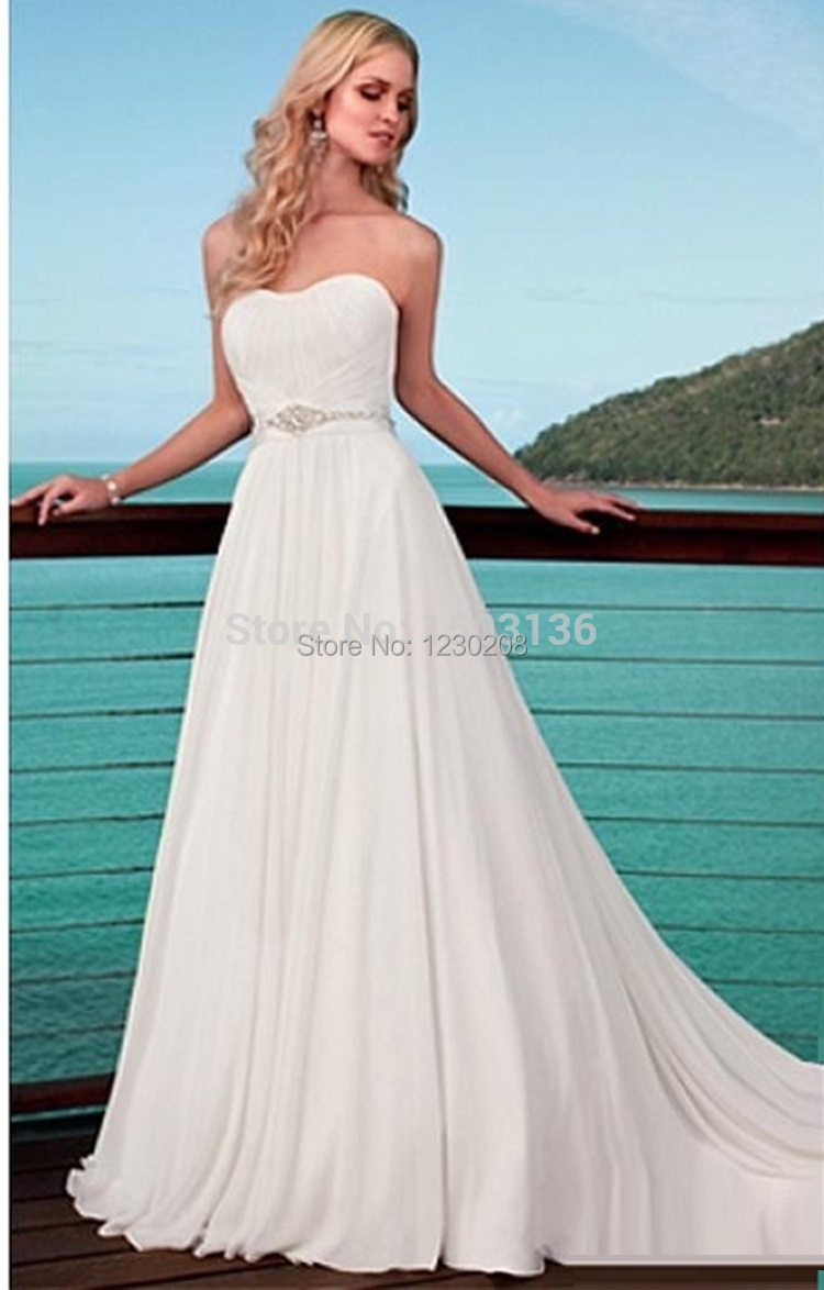 Simple sweetheart wedding belt white chiffon beach wedding for Beach chiffon wedding dress