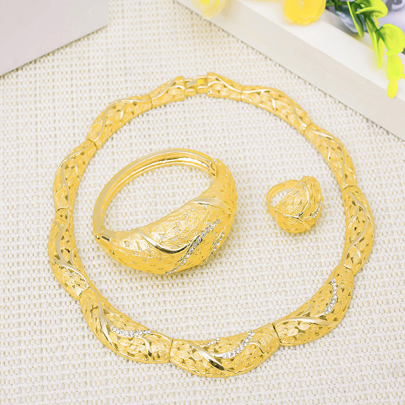 African Jewelry Set 18K Gold Plated Sets Necklace Bracelet Earring Ring Wedding Dress Accessories - Verynice store