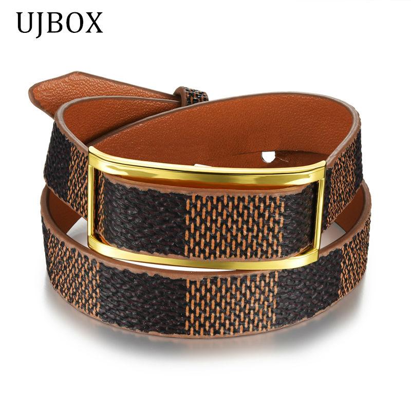 MiLaTu Fashion Women Cowhide Leather Bracelet Bangle Multilayer Wrap Bracelets Female Armband Vintage Jewelry 3 Colors B044B(China (Mainland))