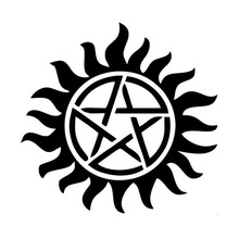 12.5*12.5CM Supernatural Anti-Possession Pentagram Car Stickers Decals Motorcycle Car Styling Black/Silver C2-0155