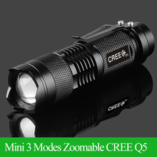 High-quality Mini LED Flashlight Black CREE Q5 2000LM Waterproof LED Laterna 3 Modes Zoomable PortableTorch penlight AA 14500(China (Mainland))