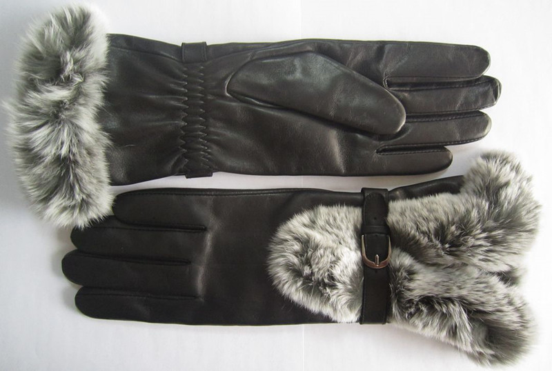 30cm long Fashion Warm Winter Leather Gloves with Shearling Lining for Women (Customed styles)(China (Mainland))