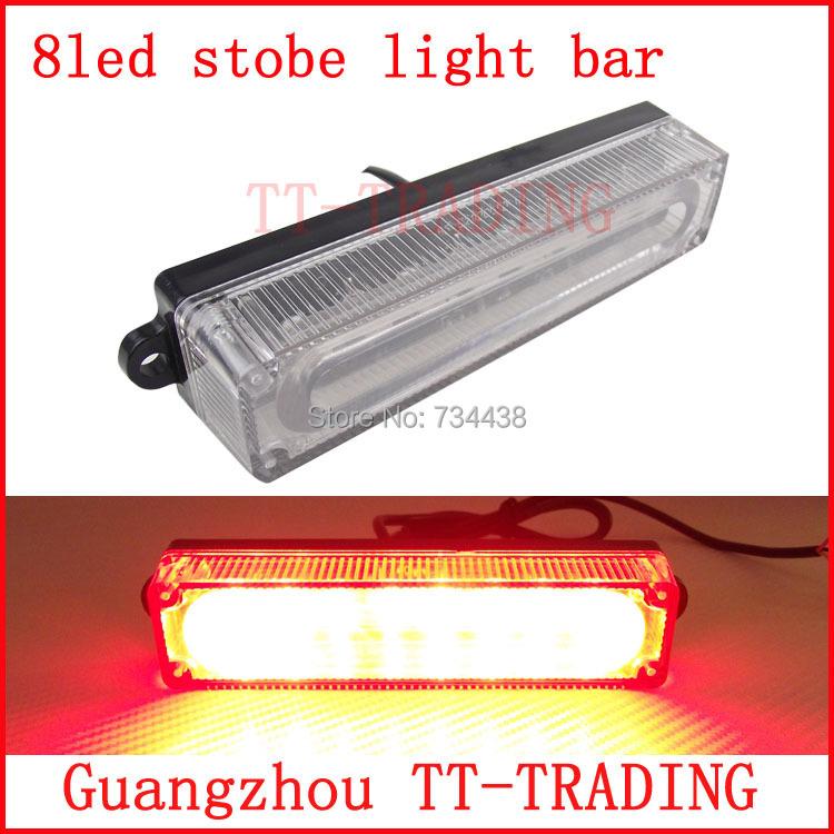 8led police strobe lights vehicle strobe light bar car warnning lights. Black Bedroom Furniture Sets. Home Design Ideas