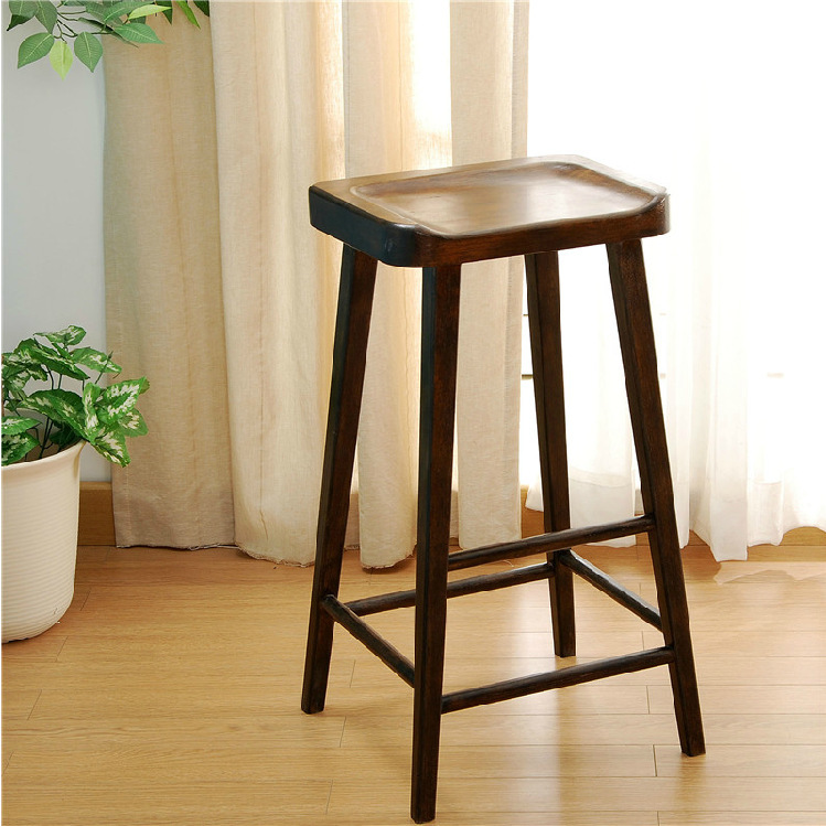 nordic solid wood oak dining stool modern simple bar stool