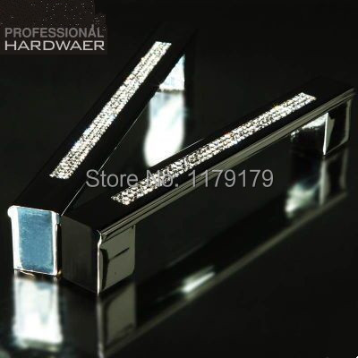 "Гаджет  160mm Fashion luxury diamond furniture decoration handle glass crystal large shiny silver wardrobe kichen cabinet door pull 6.3"" None Мебель"
