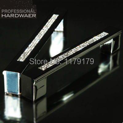 "160mm Fashion luxury diamond furniture decoration handle glass crystal large shiny silver wardrobe kichen cabinet door pull 6.3""(China (Mainland))"
