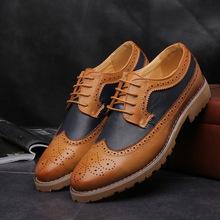 Men Brogue Formal Shoes Low Top Mens Wedding Shoes British Fashion Cheap Brogue Shoes Men Flats Hot Sale 2016 Free Shipping