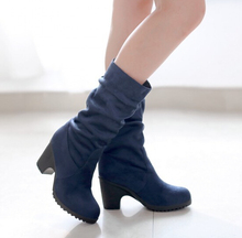 2016 New women's autumn winter thick high heels boots for women ladies black blue red mid calf half boots platform shoes a100