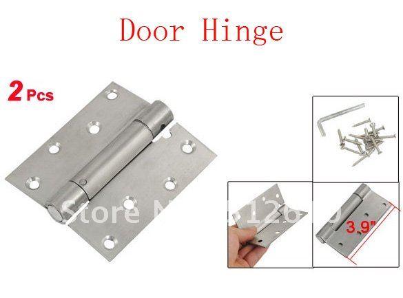"2 Pcs 3.9"" Long Furniture Hardware Door Butt Hinge Silver Tone(China (Mainland))"