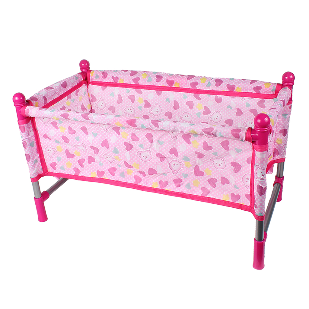 Nursery Room Furniture Decor - ABS Baby Doll Crib Bed for 9-12inch Reborn Doll for Mellchan Doll Accessories