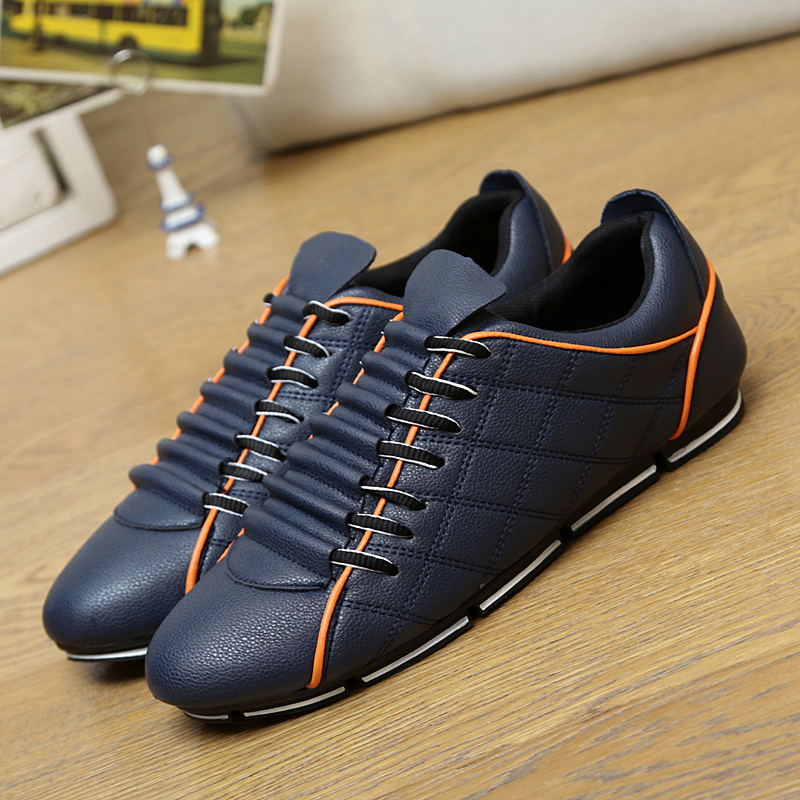 Top Quality New 2015 Autumn Men Fashion Sneakers Leather Casual Sport Shoes Breathable Light Soft Flats For Man Zapatilla Hombre(China (Mainland))