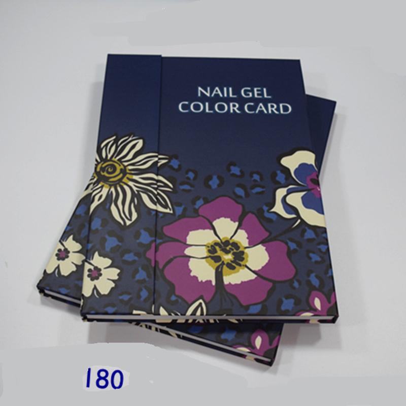 180 Colors Nail Art Color Book Chart Salon light blue + deep blue ACrylic Gel Tips Display Card Book Chart with Tips 2pcs(China (Mainland))