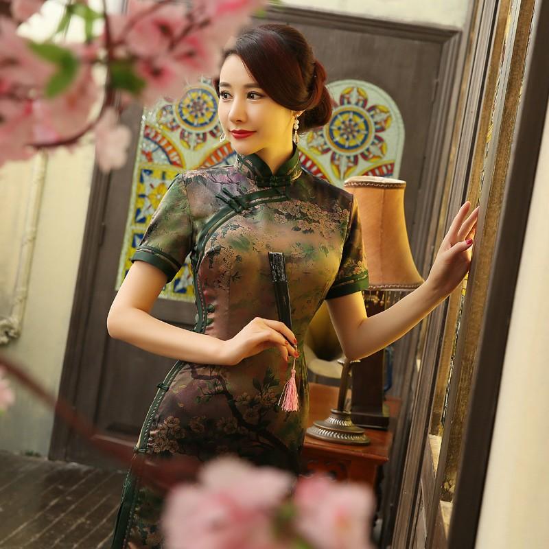 มาใหม่สตรีผ้าไหมยาวCheongsamจีนแฟชั่นสไตล์การแต่งกายที่สวยงามบางQipaoรสเสื้อผ้าขนาดSml XL XXL F072611 ถูก