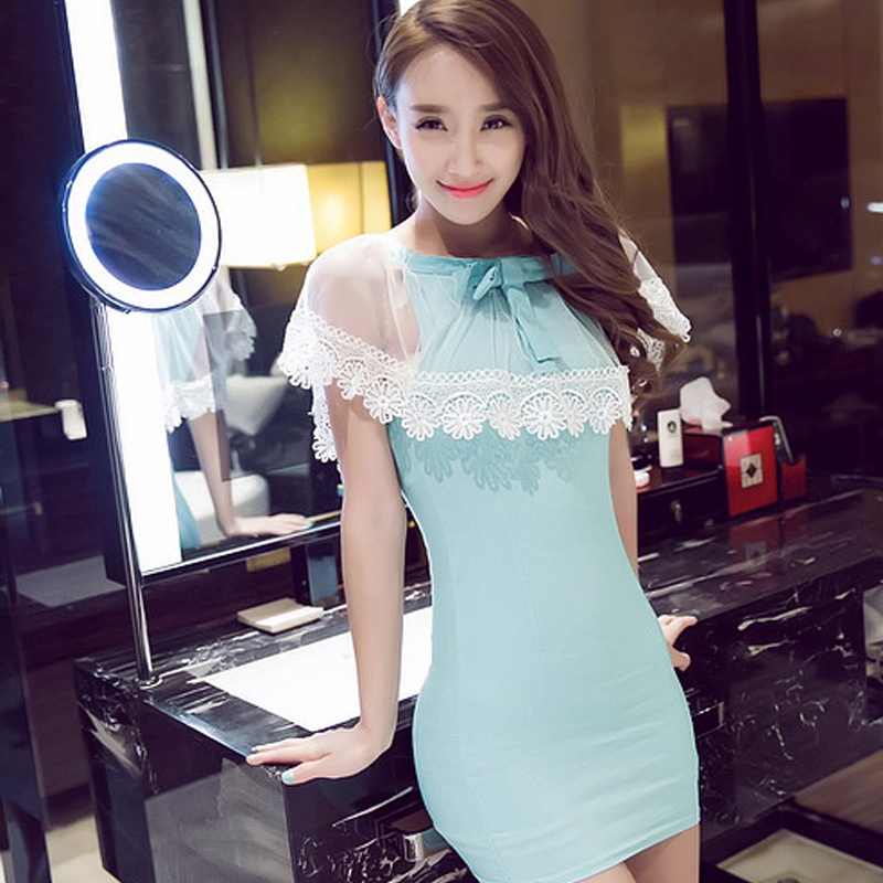 Plus size lace clothes sexy women's slim waist hip slim faux two piece set one-piece dress(China (Mainland))