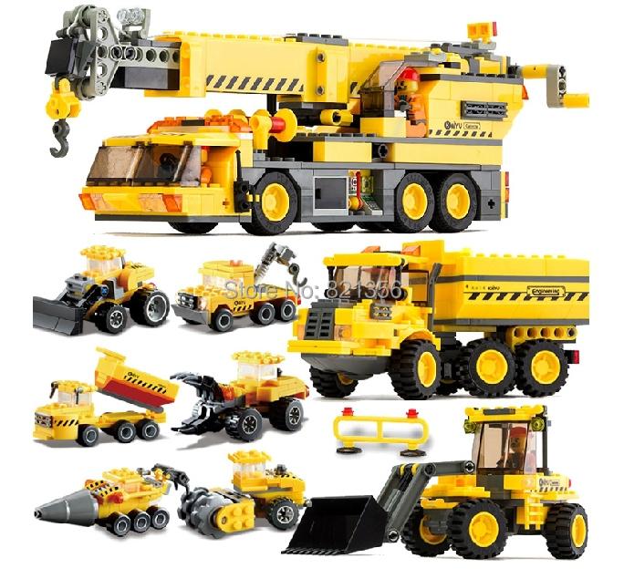 Model Building Blocks Enlighten Crane Engineered Vehicle Machineshop Truck Car Construction Bricks Toy Compatible Lego - Yui Co., Ltd. store