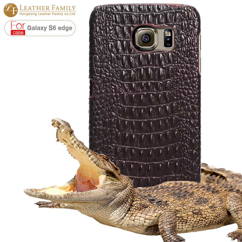 For Samsung Galaxy s6 edge case,Original Crocodile genunie leather back case for Samsung Galaxy s6 edge SM-G925 G9250 color blue(China (Mainland))
