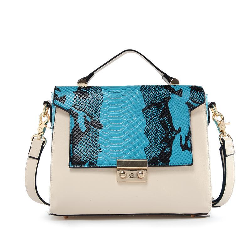 Snake Texture Patchwork handbag cross body bags women one shoulder bag in women's fashion shoulder bussiness bags handbags brand
