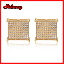 Free shipping 2014 fashion 9*9 big hip hop gold micro paved kite earring(China (Mainland))