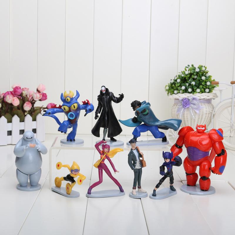 9pcs/set 6-10cm Big Hero 6 Baymax Fred Tomago Honey lemon Wasabi friends PVC Action Figure toys Big Hero 6 Figures(China (Mainland))